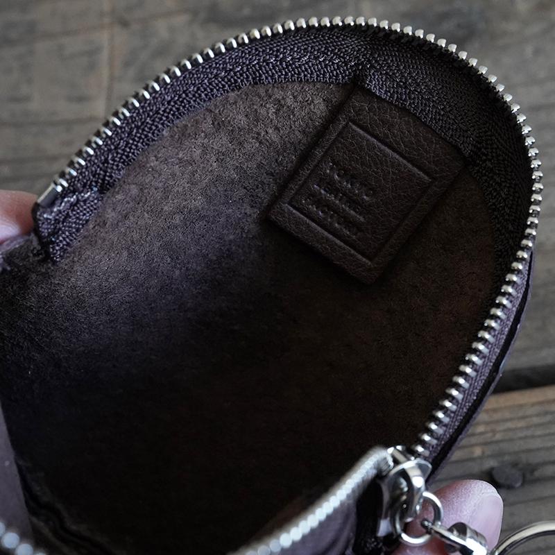 植物タンニンなめしの豚革サークルポーチ ダークブラウン / T20108 Darkbrown