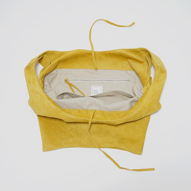 洗える革のショッピングバッグ マスタード  / T18001 Mustard
