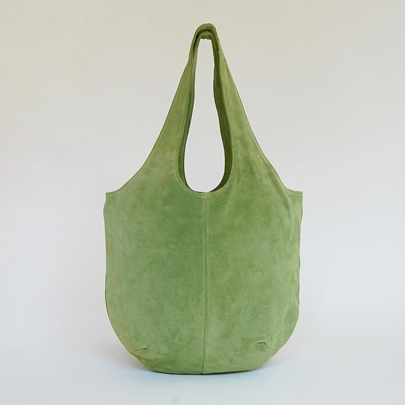 洗える革のドロップトートバッグ グリーン / T18002  Green