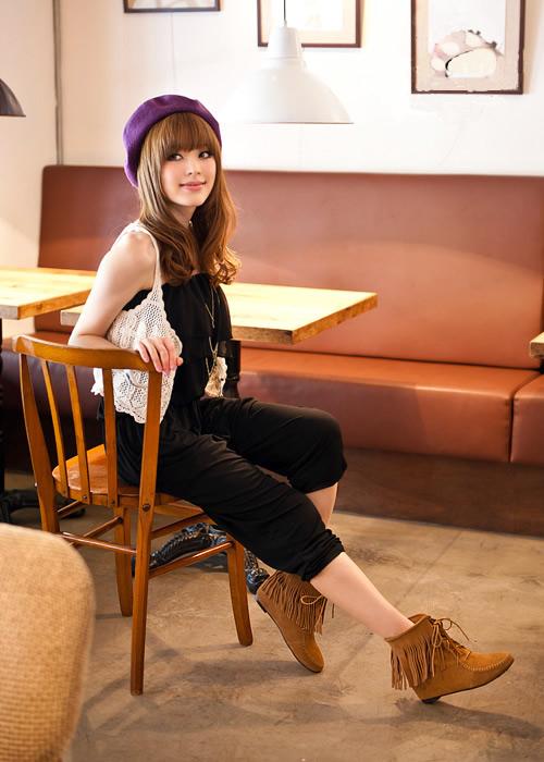【Mori Girl】インヒールフリンジショートブーツ ライトブラウン