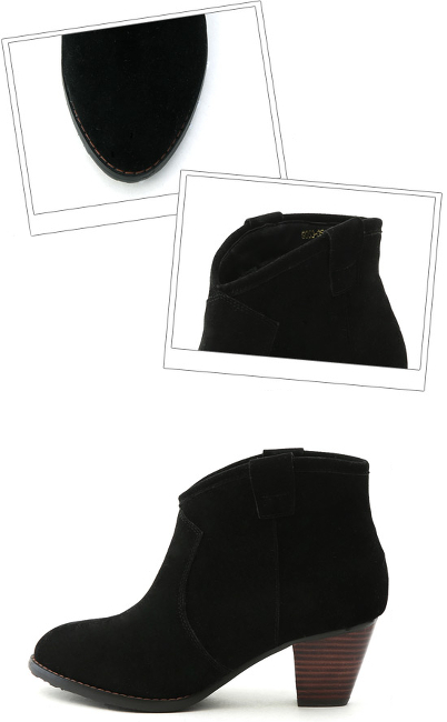 【D+AF】スエードウェスタンショートブーツ ブラック