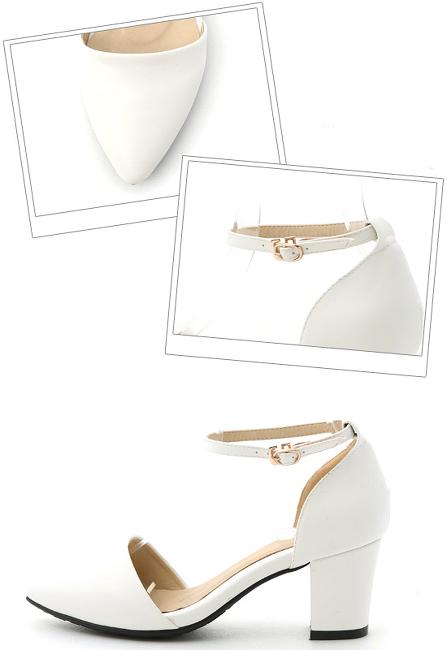 【D+AF】ストレートカットストラップパンプス ホワイト