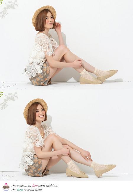 【Mori Girl】タッセルフラットシューズ イエローベージュ