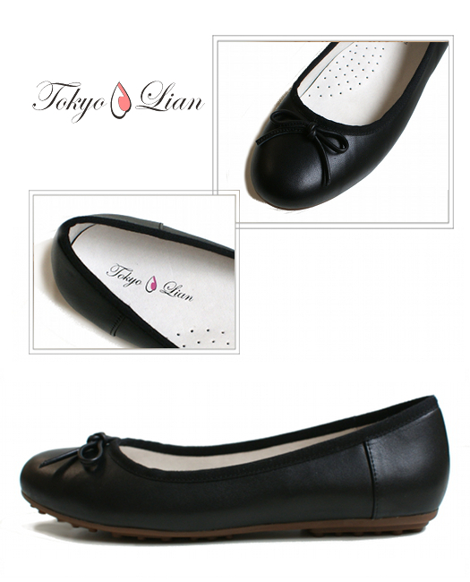 【Tokyo Lian】本革リボンバレエシューズ ブラック