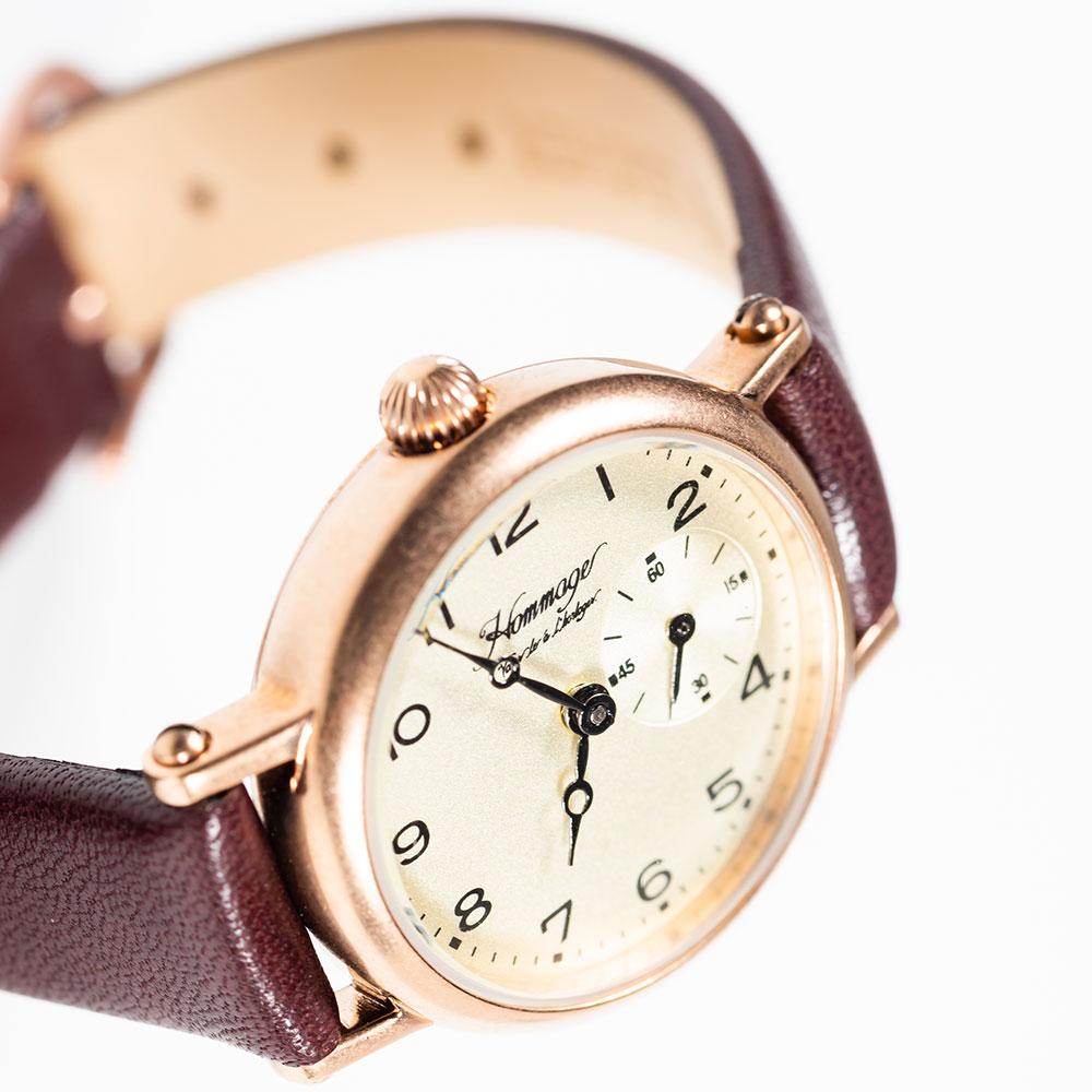 オマージュ Hommage Vouer le a l'horloger. PINKGOLD・BROWN HG-020