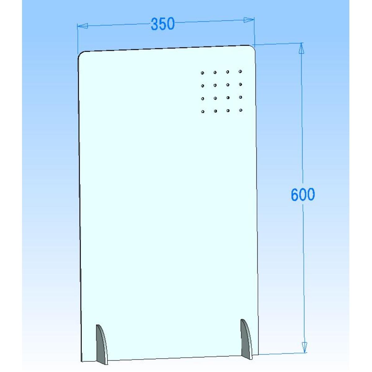 シールドマンYC3560 有孔フック対応 収納付き スリムタイプ飛沫感染防止カウンターパーテーション 飲食業、カフェ、ラーメン、そば、うどん屋などに350mm×600mm(35cm×60cm)