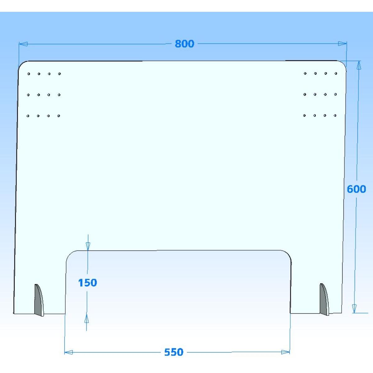 シールドマンYT8060 有孔フック対応 収納付き スリムタイプ飛沫感染防止カウンターパーテーション 飲食業、カフェ、ラーメン、そば、うどん屋などに800mm×600mm(80cm×60cm)
