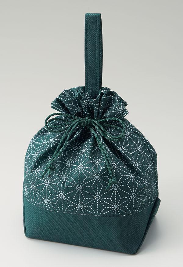 不織布和柄手提げ巾着袋 麻の葉(1セット50枚入)