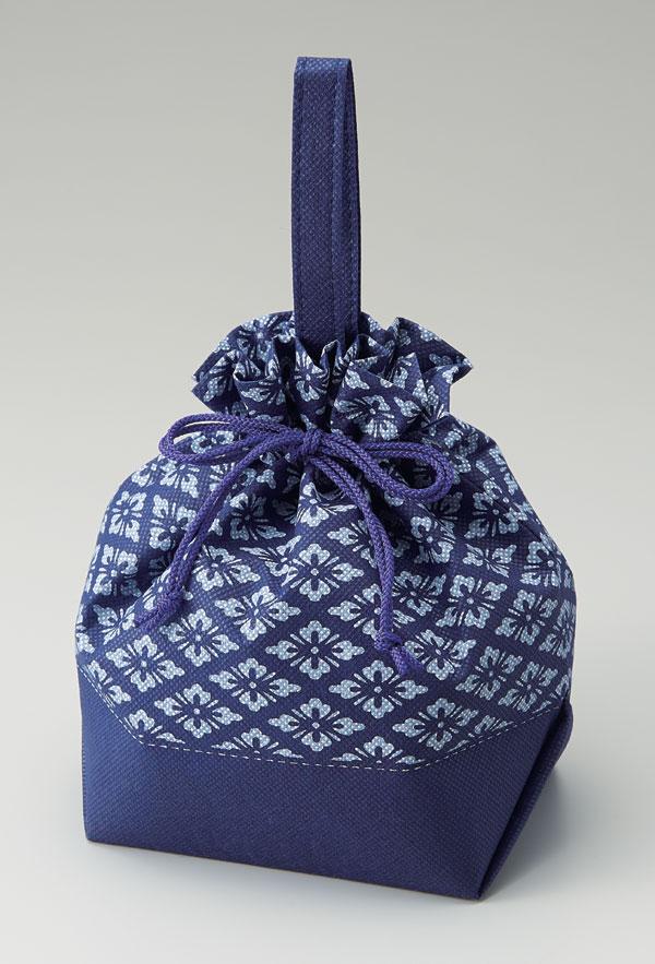 不織布和柄手提げ巾着袋  花菱(1セット50枚入)