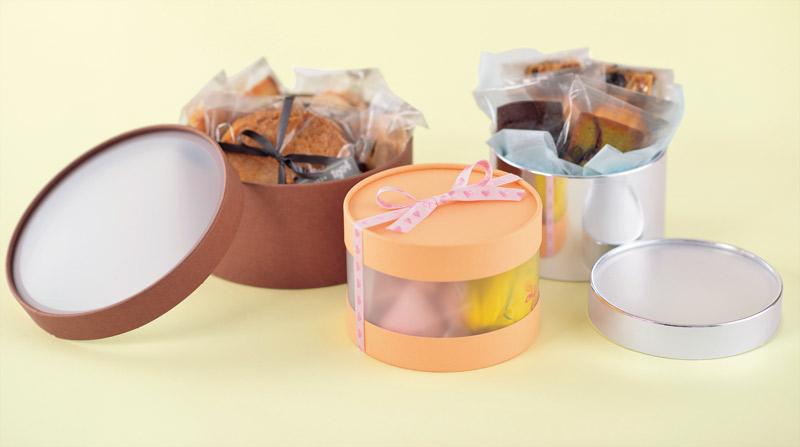 お菓子用ギフト箱 CANCAN サークルトップクリア フェザー  (1セット50個入)