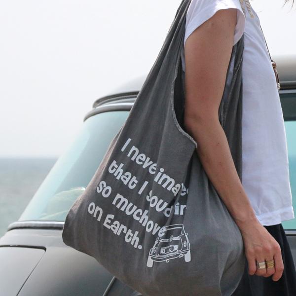 エコバッグ(折りたたみ)-おしゃれで人気の手染めエコバッグ「Vicky & Mini BAG」(Tweed Grey)