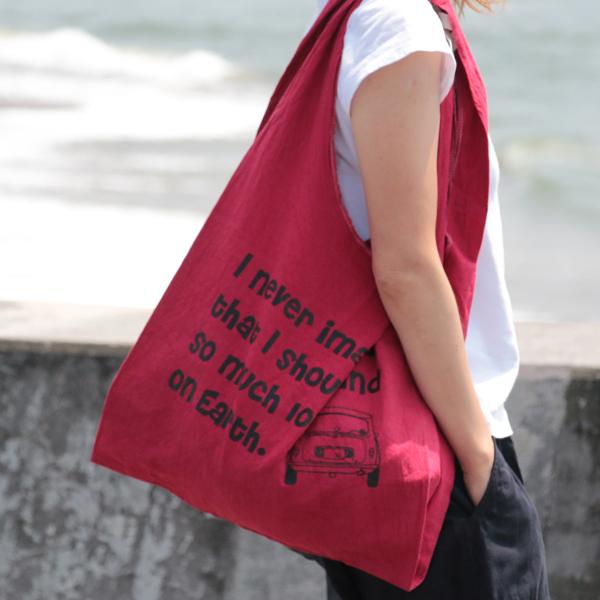 エコバッグ(折りたたみ)-おしゃれで人気の手染めエコバッグ「Vicky & Mini BAG」(Colorad Red)