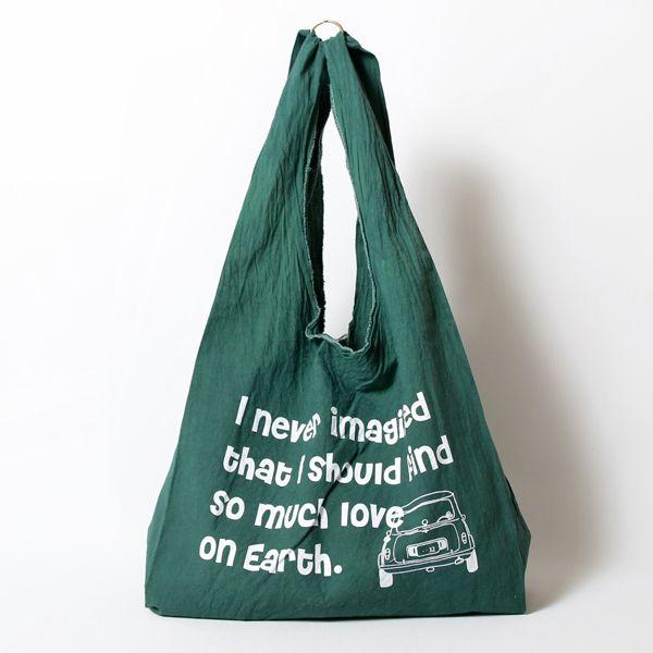 エコバッグ(折りたたみ)-おしゃれで人気の手染めエコバッグ「Vicky & Mini BAG」(Almond Green)