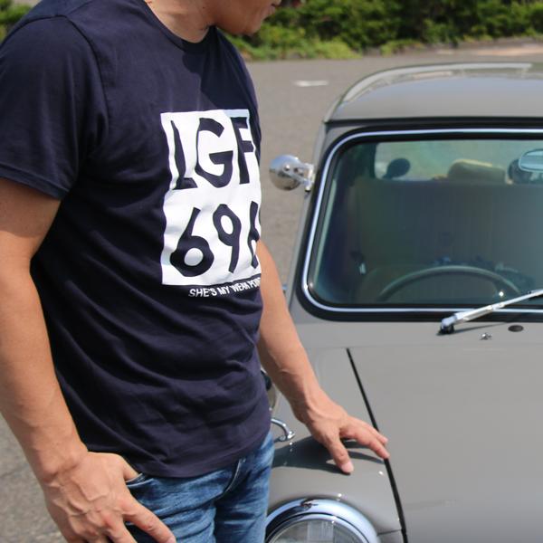ジョンレノン ミニクーパー ナンバー オーガニックコットン「John's MINI Tシャツ」(ネイビー/ホワイト)