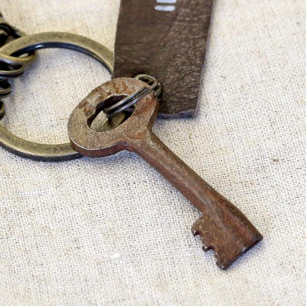アンティークキー付きMINIキーホルダー(インドの古い鍵2)