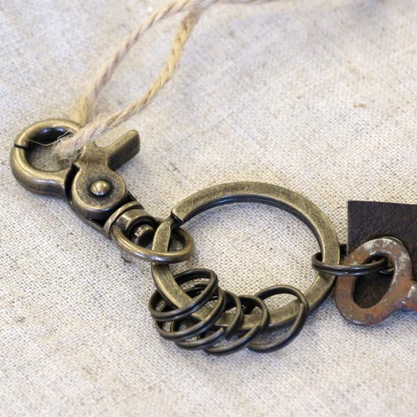 アンティークキー付きMINIキーホルダー(インドの古い鍵4)