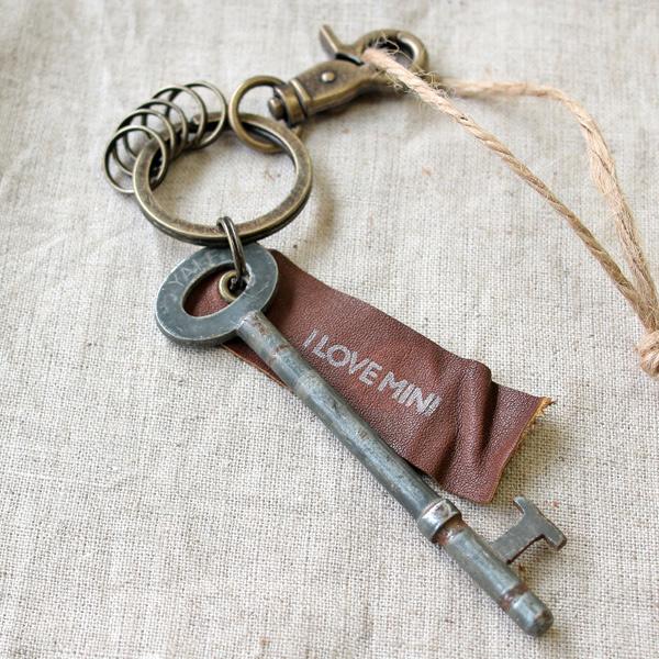 アンティークキー付きMINIキーホルダー(イギリスの古い鍵8)