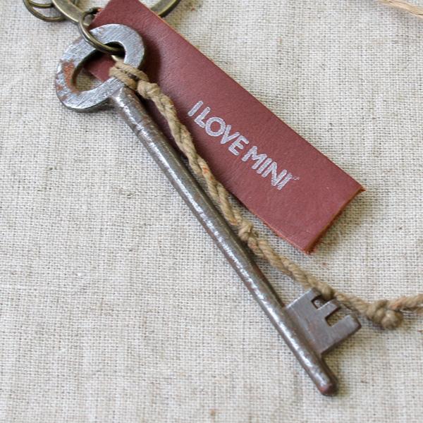 アンティークキー付きMINIキーホルダー(イギリスの古い鍵10)