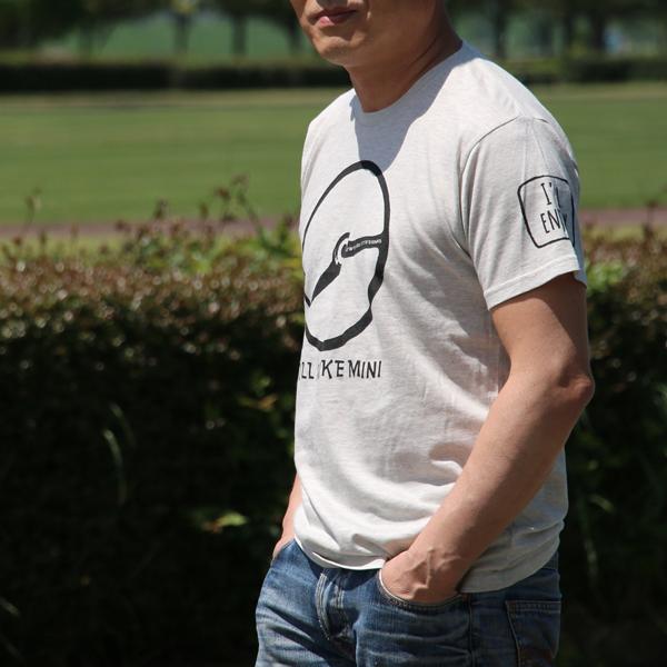 クラシックミニ ステアリング Tシャツ「Power IRU Steering Tシャツ」(アッシュ/ブラック)