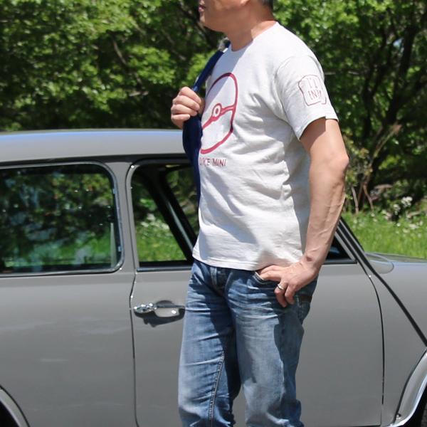 クラシックミニ ステアリング Tシャツ「Power IRU Steering Tシャツ」(アッシュ/レッド)