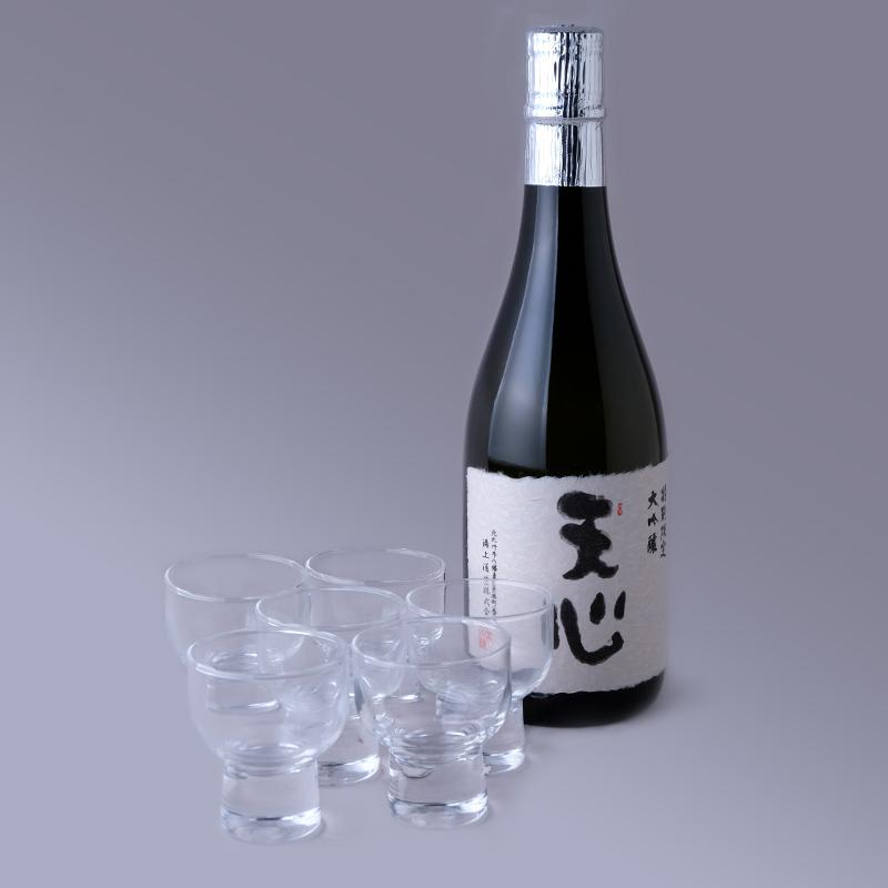 溝上酒造「天心特別限定大吟醸」と「清酒グラス6個」セット