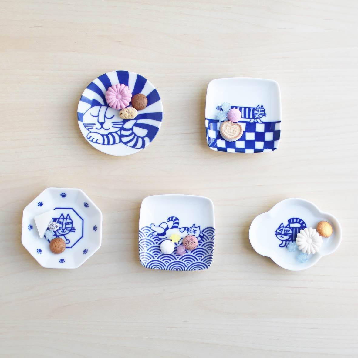 豆皿5枚セット(ねこ)・箱入