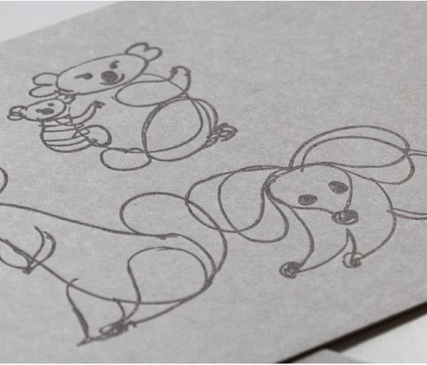 活版ポストカード(スケッチ・コアラとネズミ)