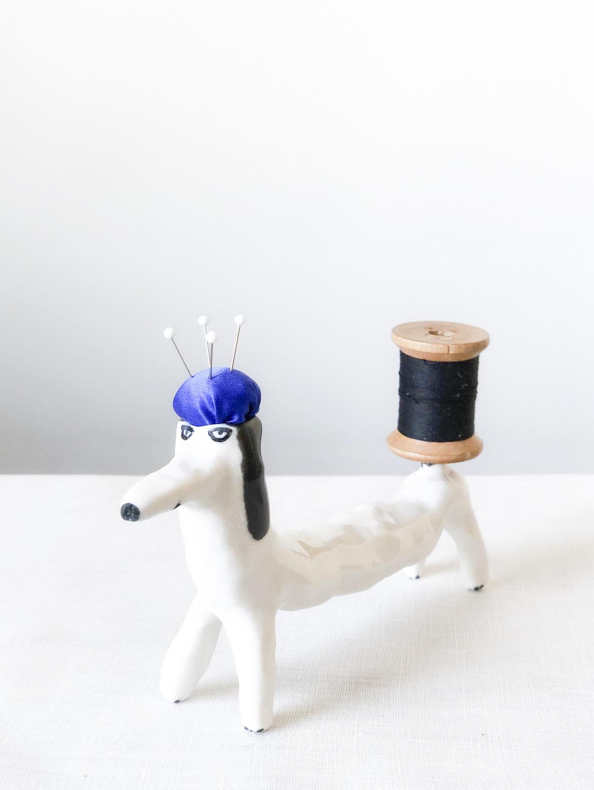 【TK】ピンクッション(犬・黒-青)