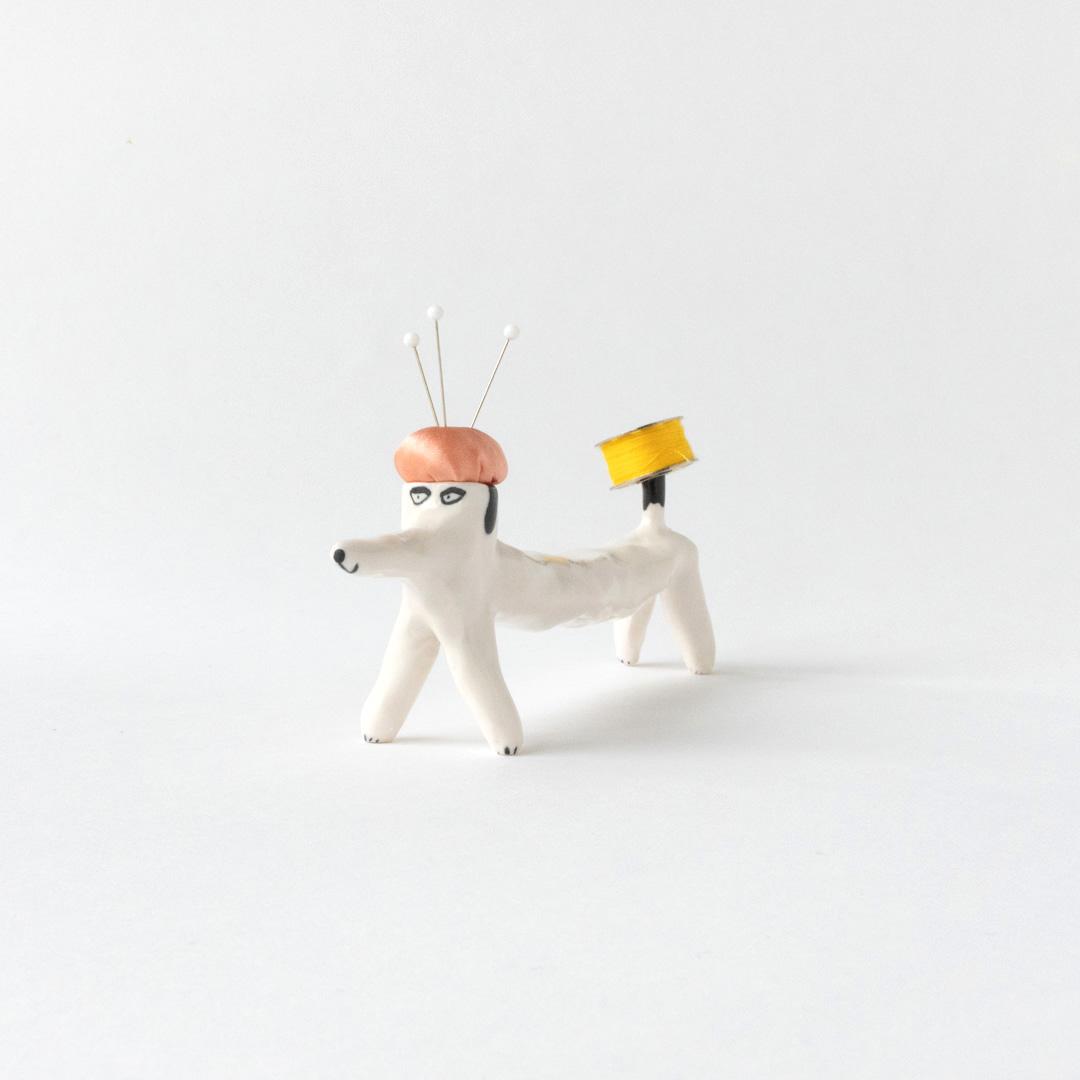 【TK】ピンクッション(犬・黒-ピンク)