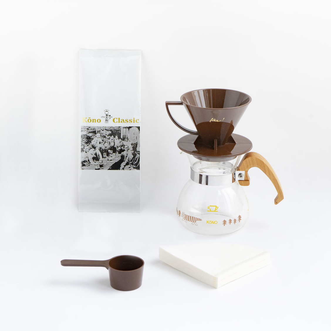 【TK】(Y)【2021年9月下旬以降順次出荷予定】KONO式コーヒードリッパーセット(木と大地のブラウン)