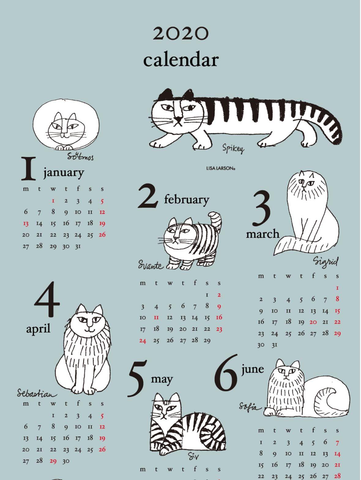 【TK】てぬぐいカレンダー2020(スケッチねこたち)