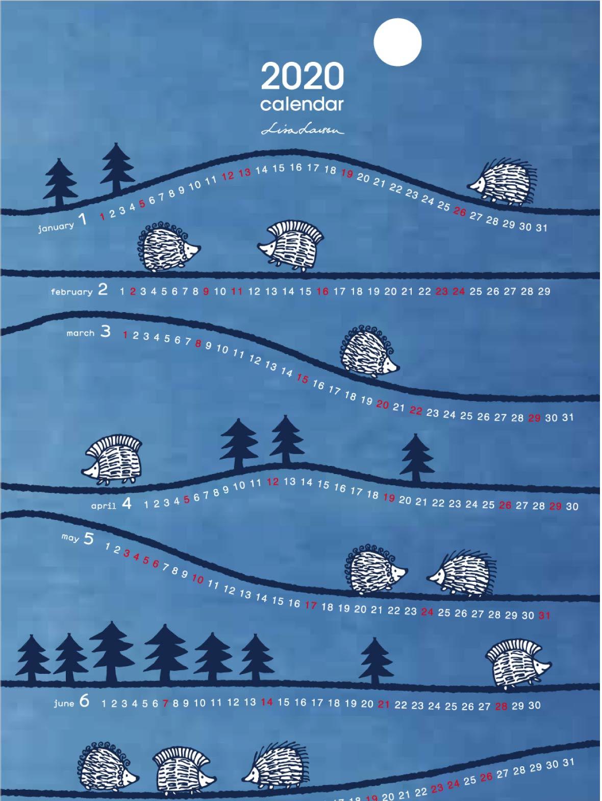 【TK】藍染てぬぐいカレンダー2020(ハリネズミ)