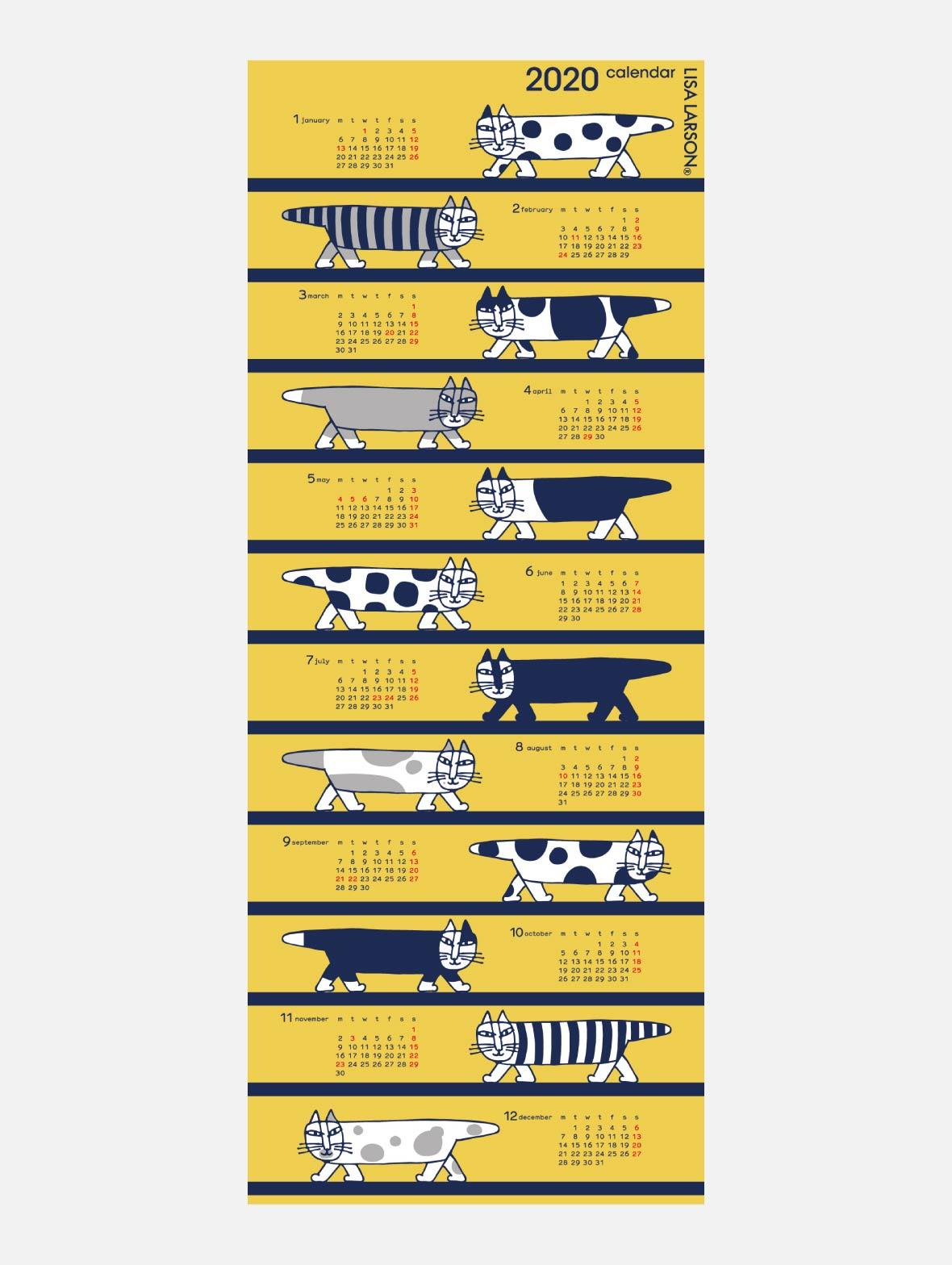 【TK】てぬぐいカレンダー2020(lots of cats)