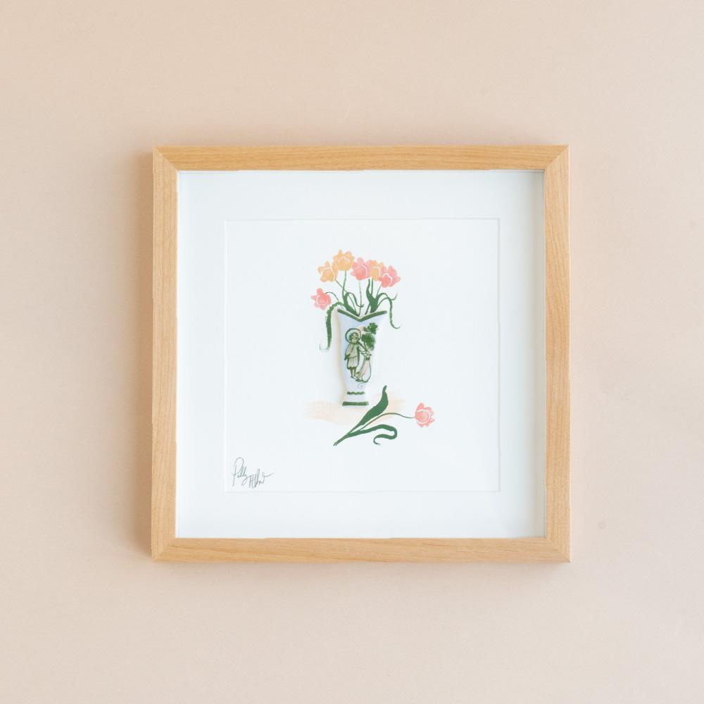 【TK】陶器の花瓶と絵画の花 NO.2(額付き)
