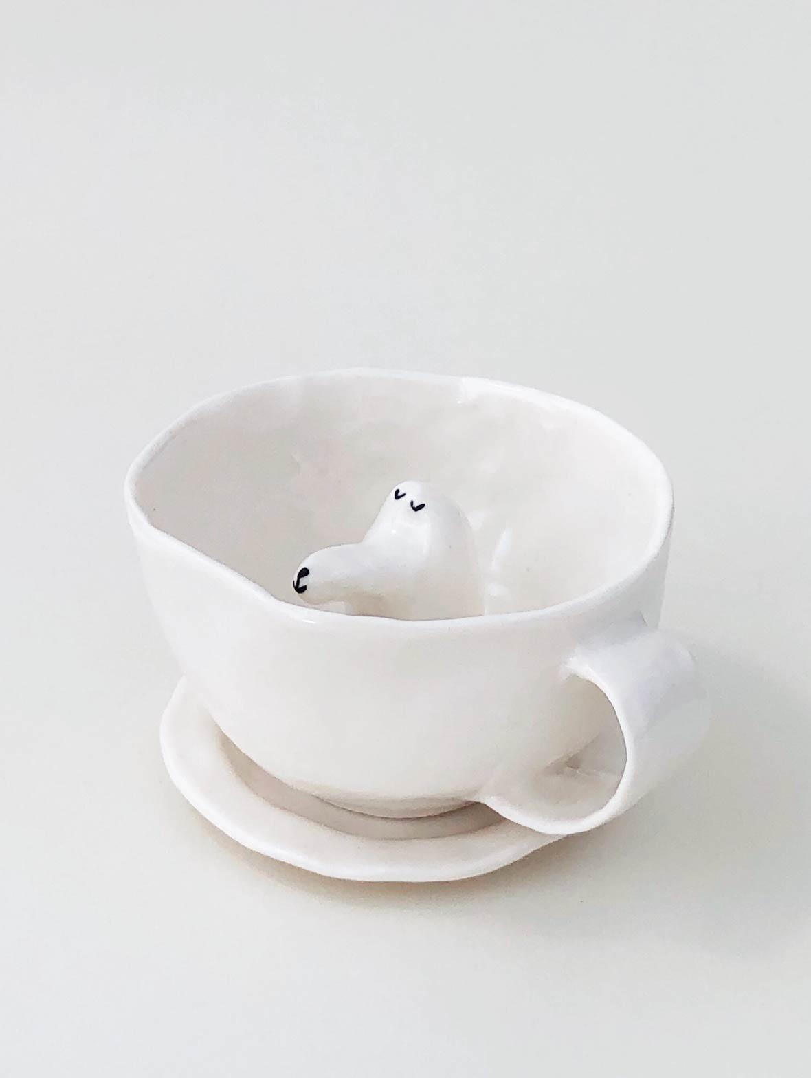 【TK】ドッグカップ(うたたねしている犬・白)