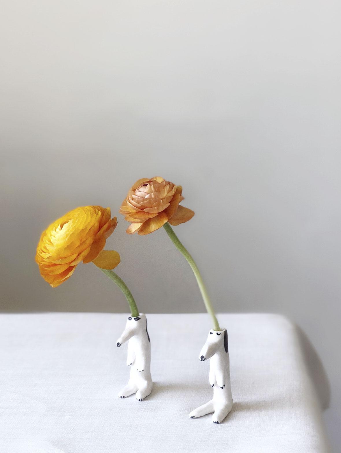 【TK】スモールドッグ花瓶(立ち上がった犬)