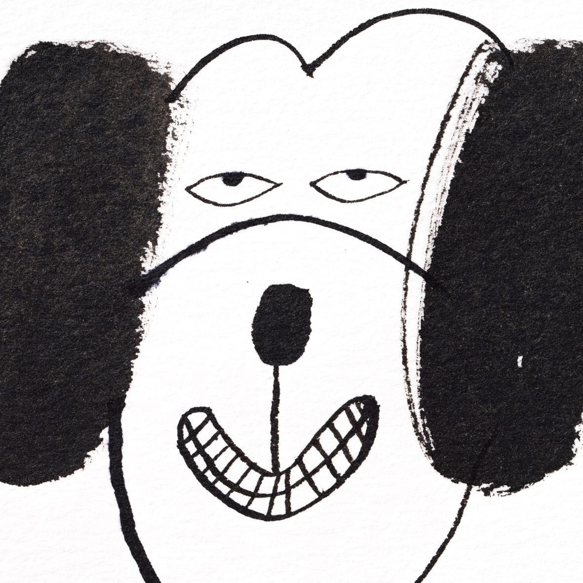 【TK】Black Ink Painting - Dog Face NO.2(Mini Square・額付き)