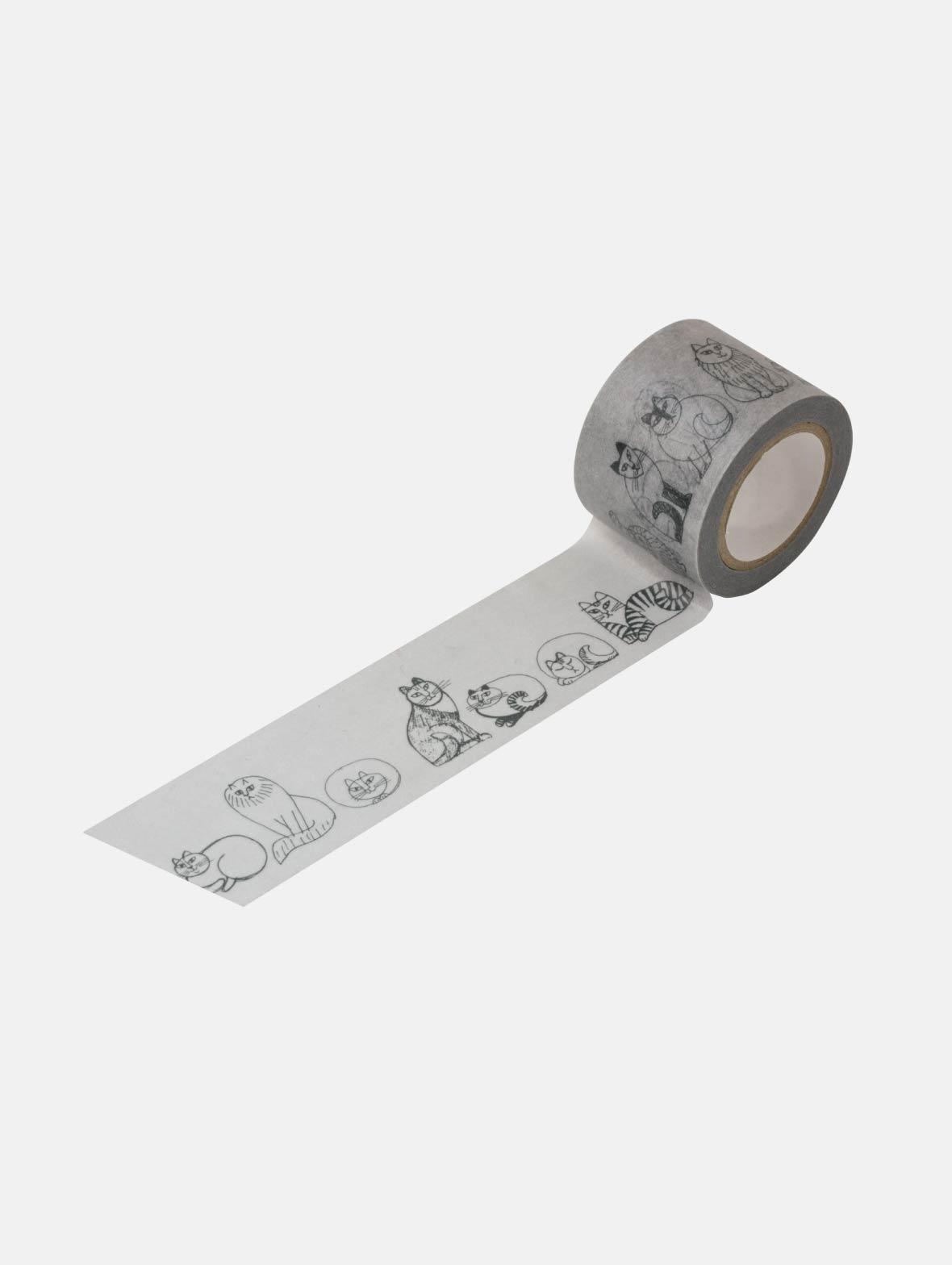 マスキングテープ(35mm・スケッチねこたち・グレー)