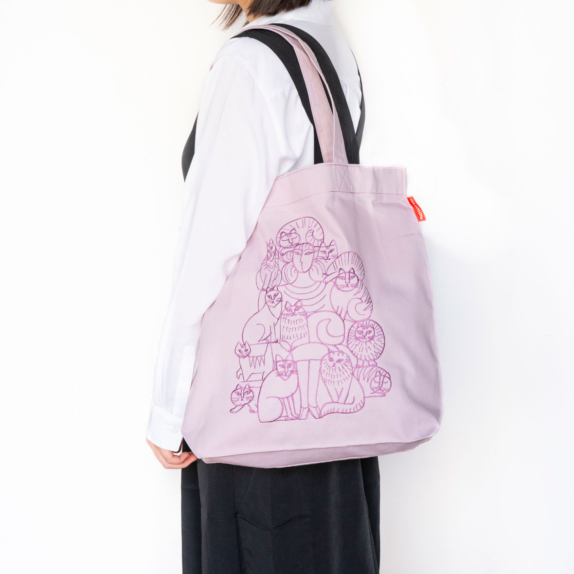 エコバッグ (貴婦人とねこ・ピンク)