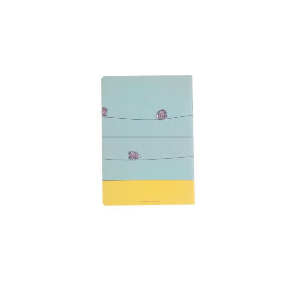 A5中綴じノート(ハリネズミ三兄弟・水色)