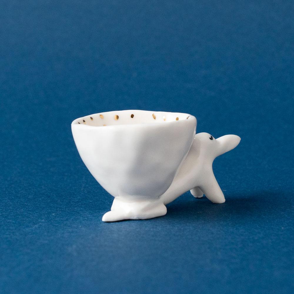 【TK】アクセサリーカップ(うたたねしている犬・ゴールドドット)NO.4