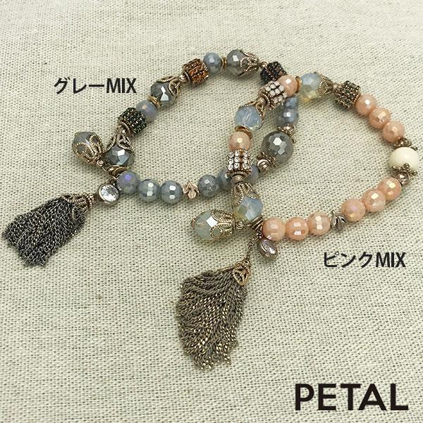 ボリュームカットビーズのシングルブレスレット【PETAL MARKET】