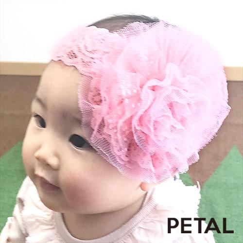 ベビー☆インスタ映えレースフラワーヘアターバン【PETAL MARKET】