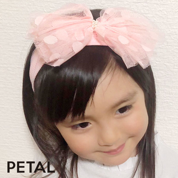 キッズ☆ドットビッグリボンヘアターバン【PETAL MARKET】