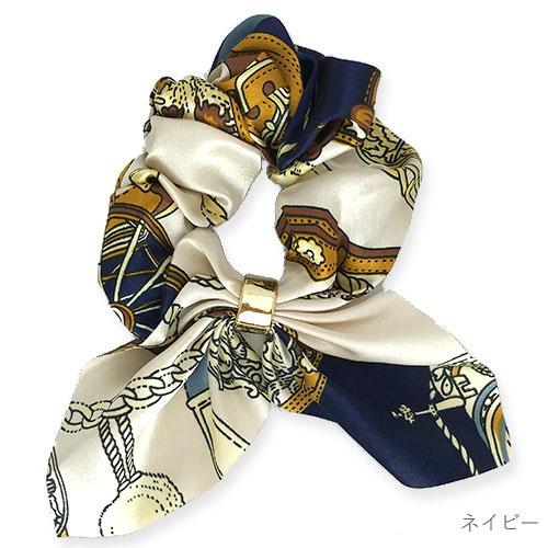スカーフ柄ふんわりつやつやゴールドリング付きシュシュ 【PETAL MARKET】