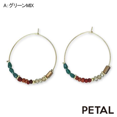 ピアス・ウッドビーズフープ(L)【PETAL MARKET/TonnyWords】