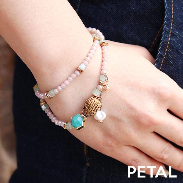 LALA グリーンとピンクのbijoux2連ブレスレット【PETAL MARKET】