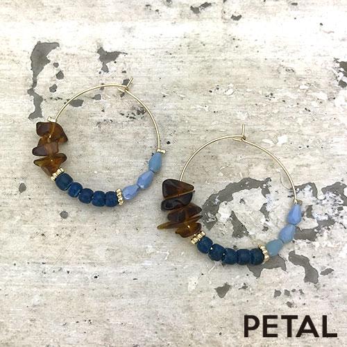 ピアス・ウッド&天然石フープピアス【PETAL MARKET/TonnyWords】