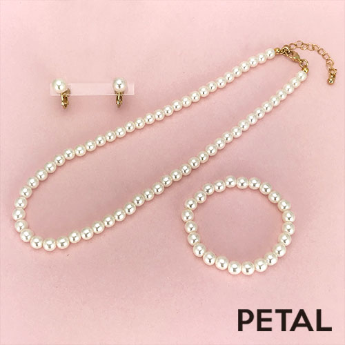 キッズ☆大人になったみたい♪イヤリングとネックレスとブレスのパール豪華3点セット【PETAL MARKET】