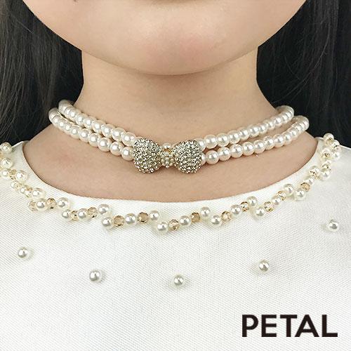 キッズ☆大人になったみたい♪クラシックリボンパールネックレスとイヤリングとブレスのパール豪華3点セット【PETAL MARKET】